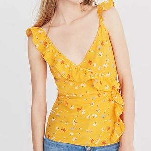 Madewell Silk Wrap Cami Top in Painted Carnations